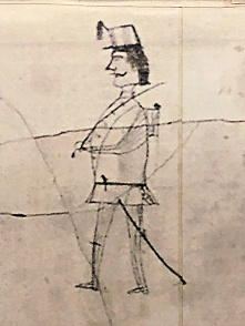 Northern Virginia Civil War Graffiti Trail | Historic Blenheim | Drawing of a soldier by a Civil War soldier