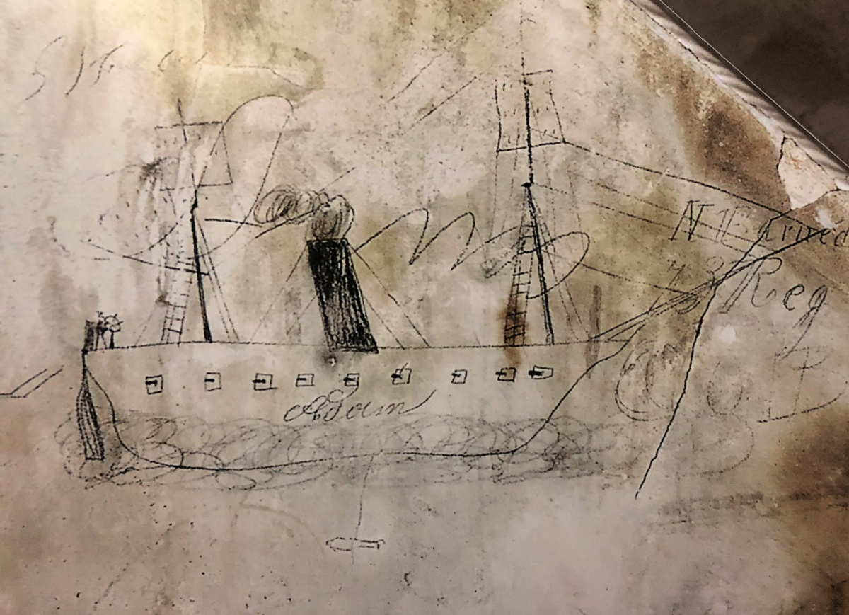 Drawing of a ship by Civil War soldier | Northern Virginia Civil War Graffiti Trail | Military tourism | Fairfax Virginia
